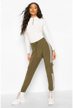 Khaki Cargo Pant With Side Stripe And Pocket