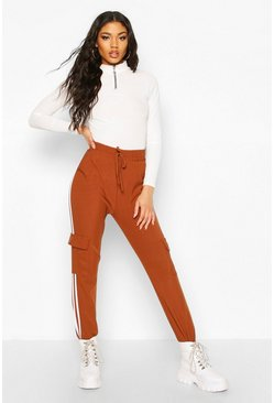 Tan Cargo Pant With Side Stripe And Pocket