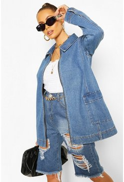 Oversized Pocket Detail Denim Jacket, Mid blue