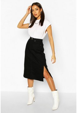 Black Split Hems Denim Midi Skirt