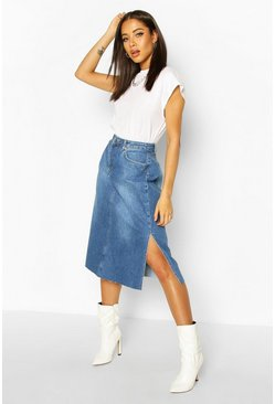 Split Hems Denim Midi Skirt, Mid blue