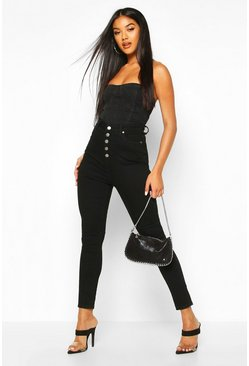 Black Button Front Slit Knee Skinny Jean