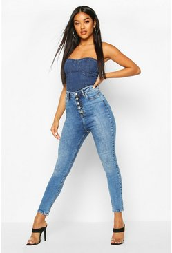 Button Front Slit Knee Skinny Jean, Mid blue, Donna