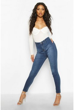 Super High Rise Power Stretch Disco Jegging, Mid blue, Donna