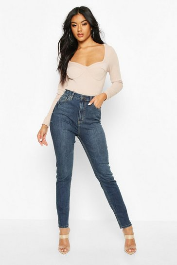 Womens Dark blue High Rise Stretch Skinny Jean