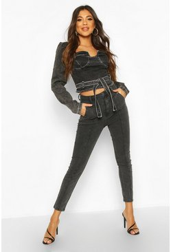 Washed black High Rise Stretch Seam Detail Skinny Jean