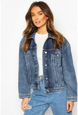 Womens Mid blue Vintage Wash Boxy Denim Jacket