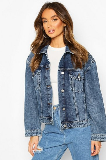 Mid blue Vintage Wash Boxy Denim Jacket