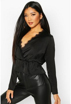 Womens Black Satin Lace Up Trim Wrap Top