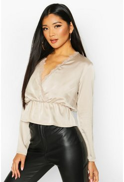 Womens Champagne Satin Lace Up Trim Wrap Top
