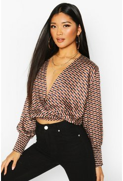 Dam Natural Geo Print Wrap Blouse