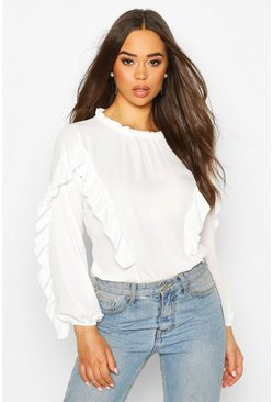 Ruffle Detail High Neck Blouse, Ivory, FEMMES