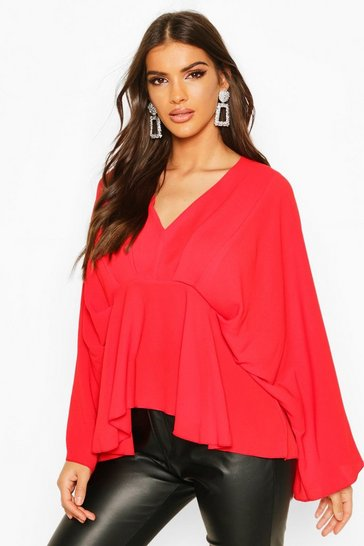Red Pleat Front Peplum Top