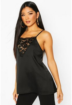 Satin Lace V Panel Cami, Black, Femme