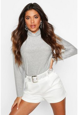 Womens Silver Glitter Roll Neck Top