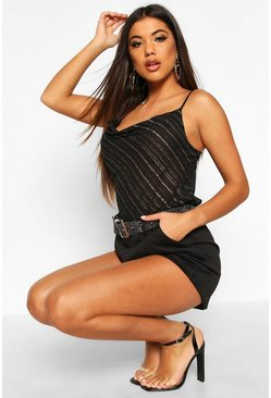 Metallic Stripe Cowl Front Cami, Black, Donna