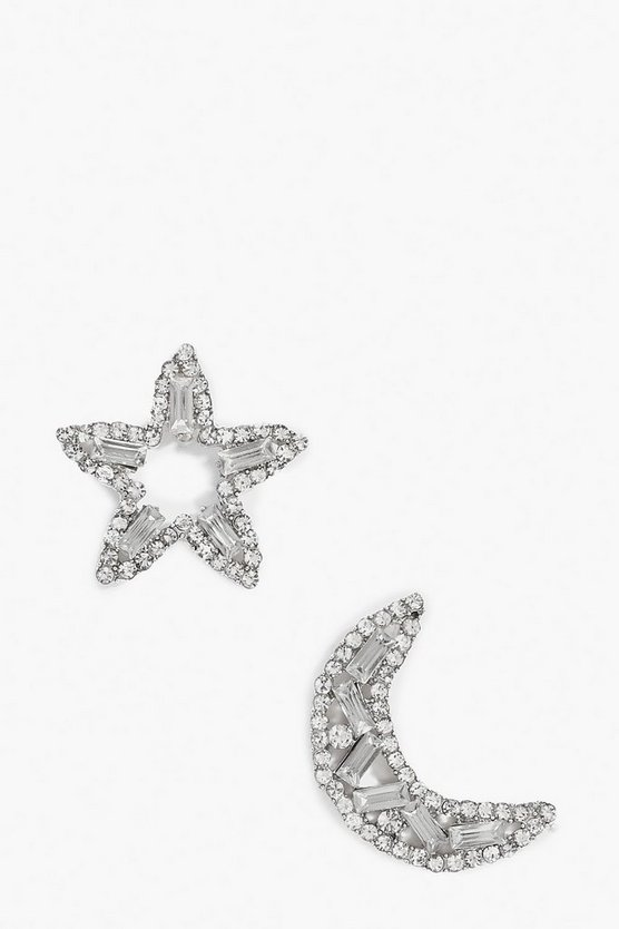 Diamante Star & Moon Earrings