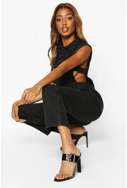 Sleeveless Denim Boilersuit, Black, Donna