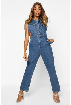 Sleeveless Denim Boilersuit, Mid blue, FEMMES