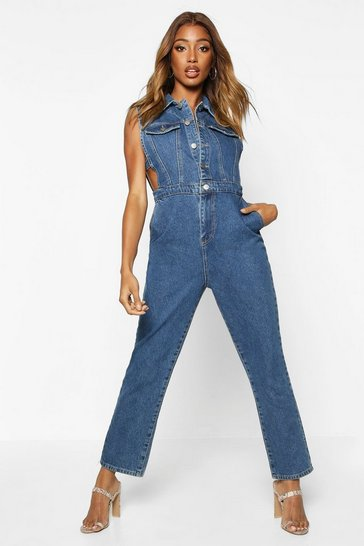 Womens Mid blue Sleeveless Denim Boilersuit