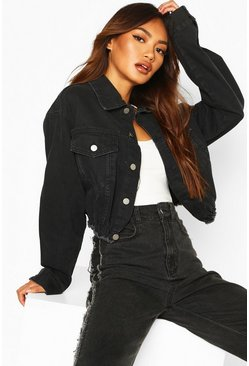 Boxy Waist Detail Denim Jacket, Black