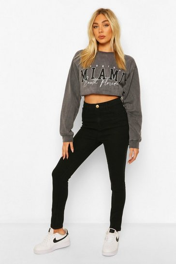 Black High Rise Super Stretch Skinny Jean