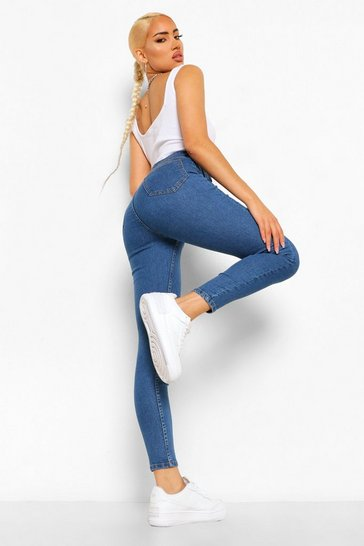 Mid blue High Rise Super Stretch Skinny Jean