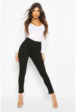 Womens Black High Rise Super Stretch Disco Jean