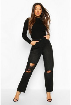 High Rise Distressed Boyfriend Jean, Washed black
