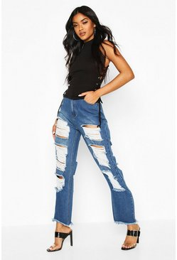 Womens Mid blue Super Ripped High Rise Straight Jean