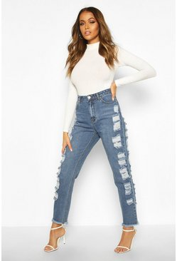 Distressed Side High Rise Straight Leg Jean, Mid blue