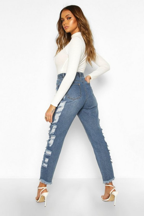 Distressed Side High Rise Straight Leg Jean