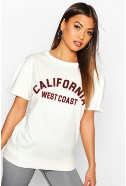 Ecru Fit California Slogan Oversized Gym T-shirt