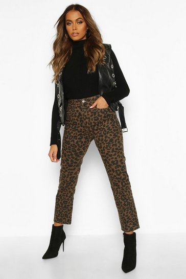Brown High Rise Straight Leopard Jean