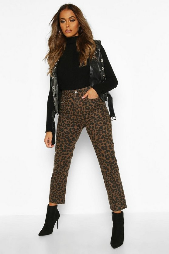 High Rise Straight Leopard Jean