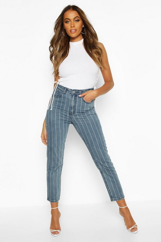 Womens Mid blue High Rise Side Stripe Straight Leg Jean