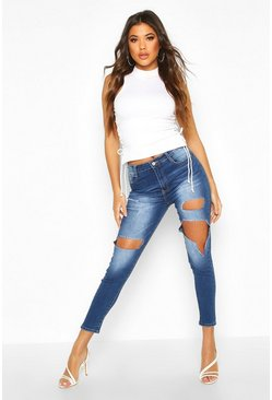 Mid blue High Rise Distressed Skinny Jean