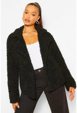 Double Breasted Faux Fur Teddy Coat, Black, ЖЕНСКОЕ
