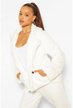 Womens Cream Double Breasted Faux Fur Teddy Coat