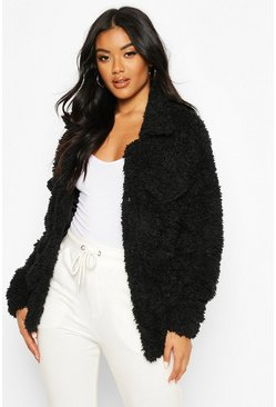 Faux Fur Teddy Trucker, Black, ЖЕНСКОЕ