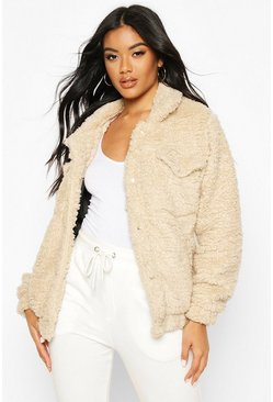 Womens Stone Faux Fur Teddy Trucker