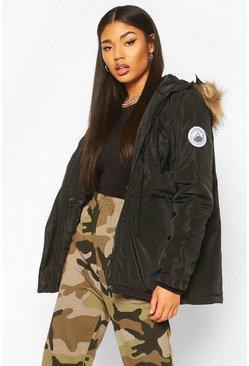 Black Faux Fur Trim Badge Detail Parka