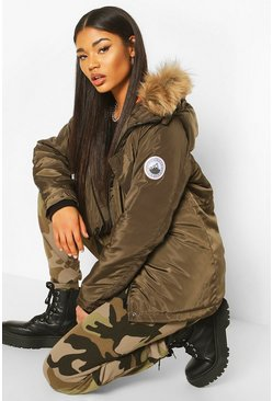Womens Khaki Faux Fur Trim Badge Detail Parka