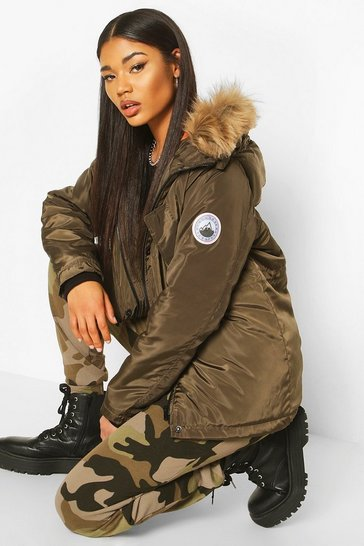 Khaki Faux Fur Trim Badge Detail Parka