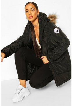 Womens Black Oversized Faux Fur Trim Sporty Parka