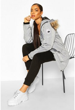 Womens Grey Oversized Faux Fur Trim Sporty Parka