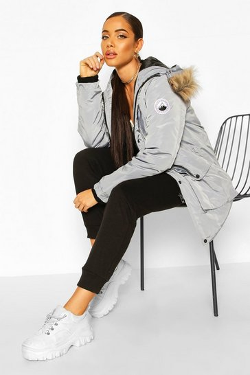 Grey Oversized Faux Fur Trim Sporty Parka