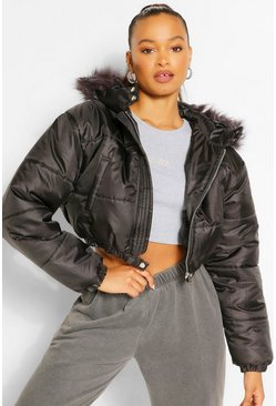 Womens Black Faux Fur Trim Crop Puffer Jacket