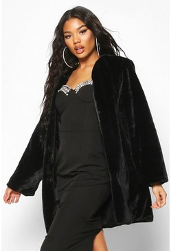 Womens Black Collarless Faux Fur Coat