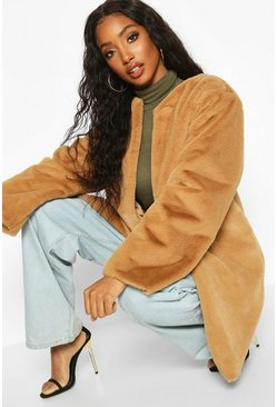 Womens Camel Collarless Faux Fur Coat